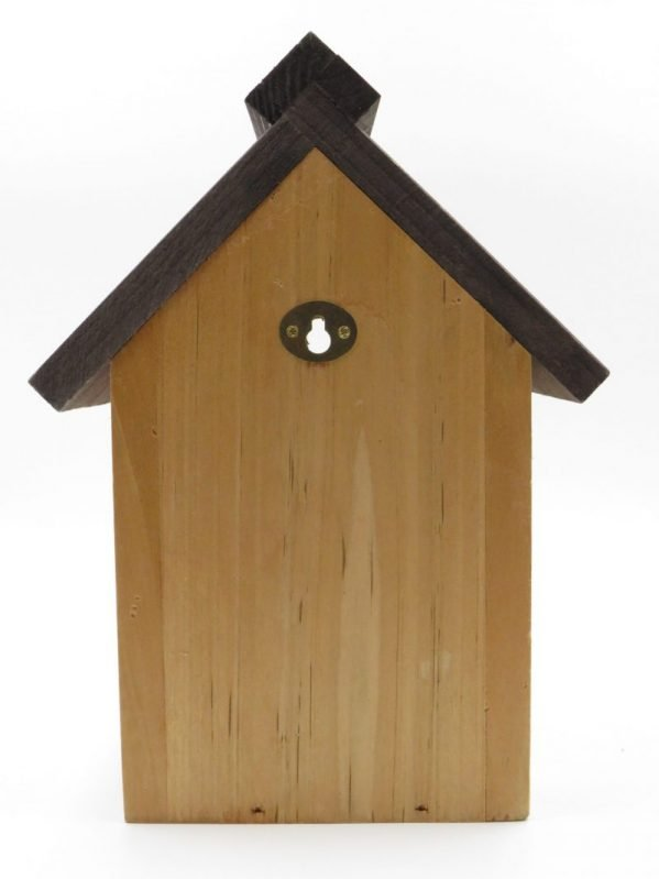 Supa wooden nesting box for wild birds. View of the back showing metal reinforced hole to easily hang from a nail in tree or on wall.