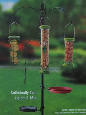 Red Barn deluxe 5 hook wild bird feeding station pictured in a garden with feeders hanging from hooks. Includes water and food tray