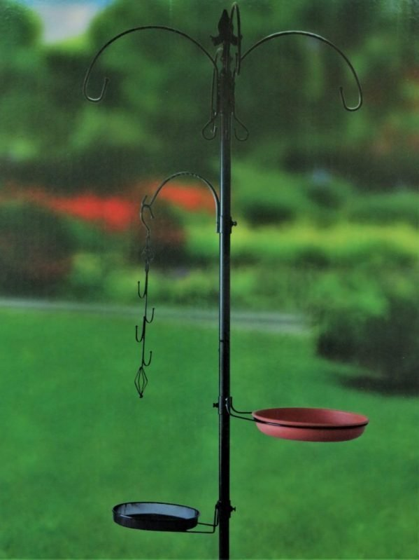 Red BArn feeding station for wild birds, 5 hooks, shown with no feeders attached against garden backdrop. water tray and bird feeder basket included