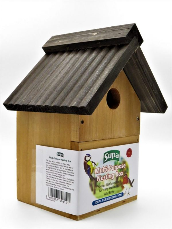 Supa wooden nesting box for wild birds. Multi-purpose, shown with hole front. Dark brown wooden roof.
