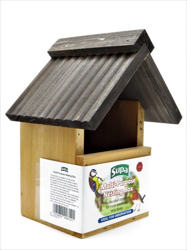Supa wooden nesting box for wild birds, shown with open front for robins. will convert to hole fronted.