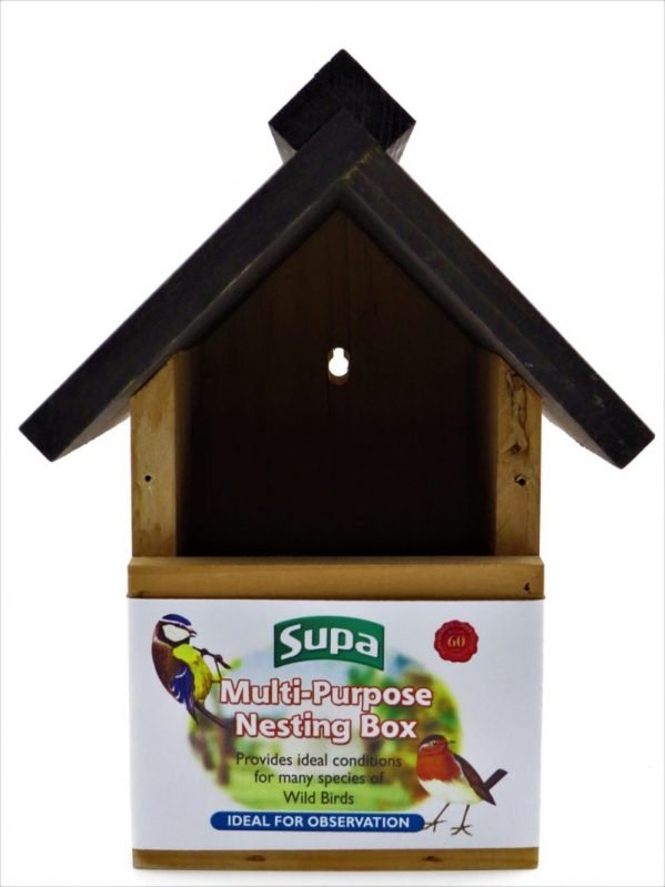 supa wooden nesting box, shown open fronted for robins. can convert to hole fronted.