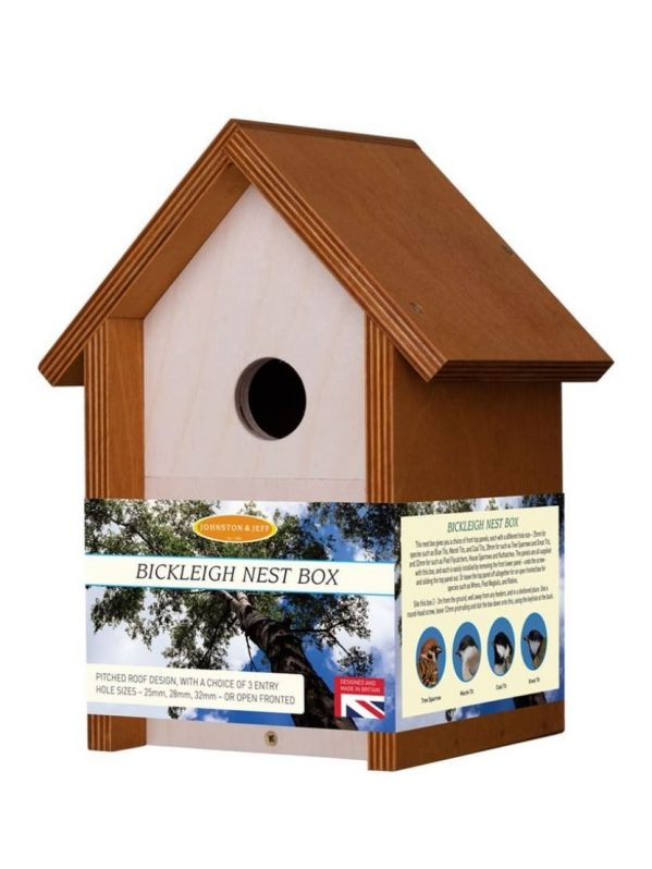 Johnston and Jeff Bickleigh wooden nest box. Interchngeable front panel to attract different bird species.