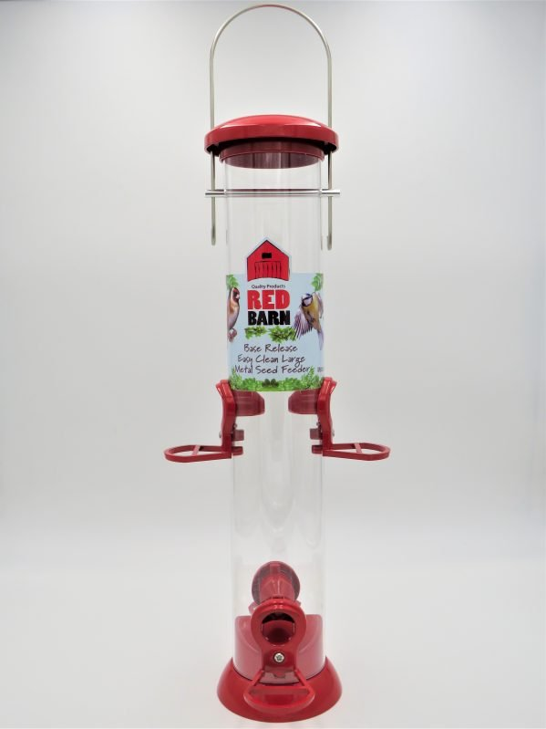 red barn base release seed feeder for wild birds red 4 port