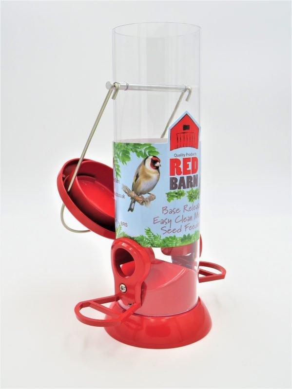 red barn base release bird feeder showing flip lid top