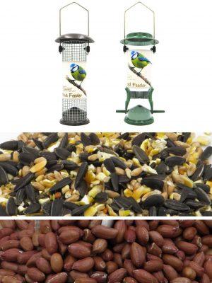 Bird feeding essentials bundle. 2 bird feeders, 6kg everyday bird mix and 4 kg premium peanuts