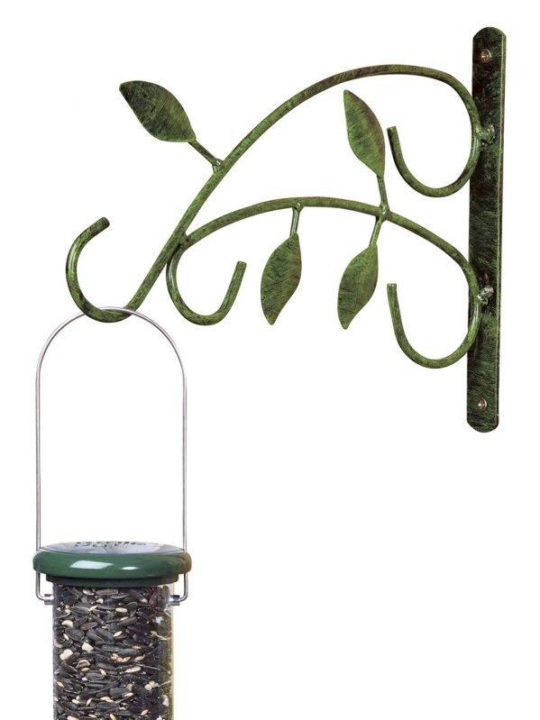 Leaf wall hook with bird feeder hanging frmo it