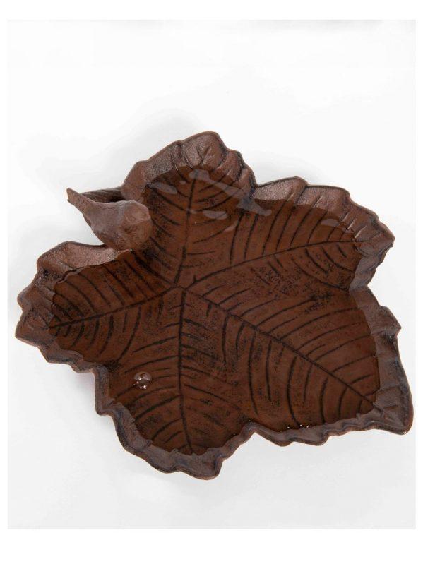 old iron bird bath leaf shaped