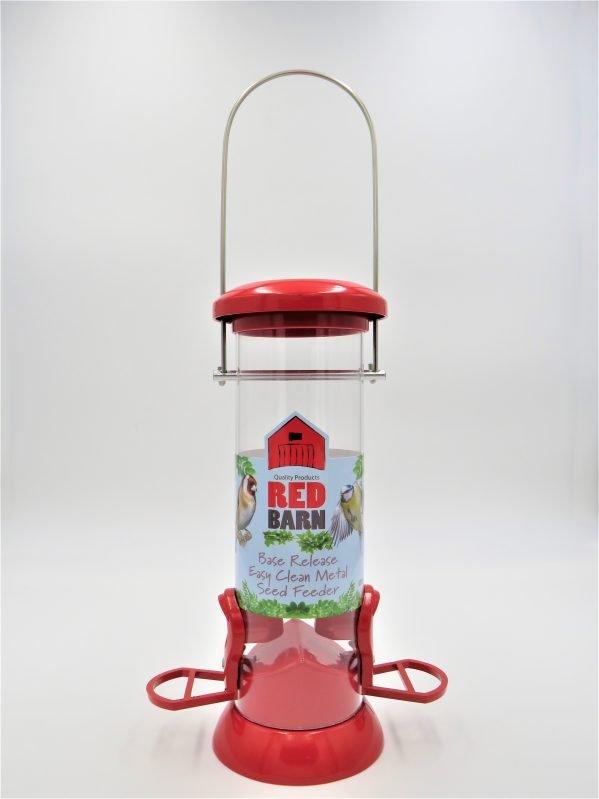 Red Barn base release bird feeder red, 2 port