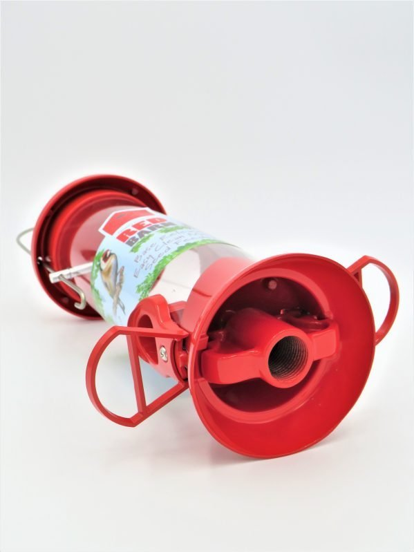 red barn base release feeder, red colour showing threaded base