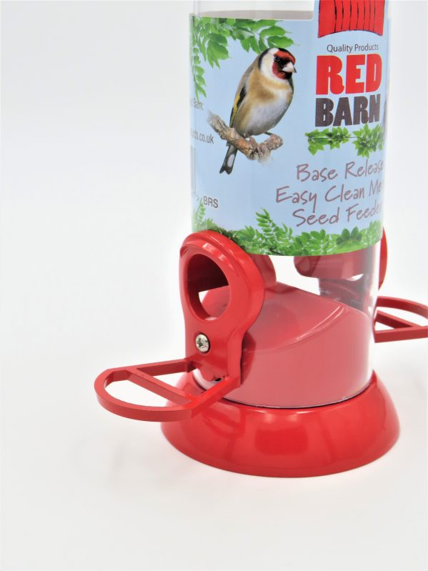 Red barn base release feeder showing ergonomic shape of perch