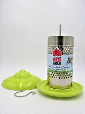 Red Barn ceramic mealworm feeder for wild birds