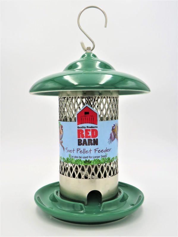 Red Barn ceramic suet pellet feeder dark green