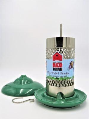 Red Barn ceramic suet pellet feeder with lid removed dark green