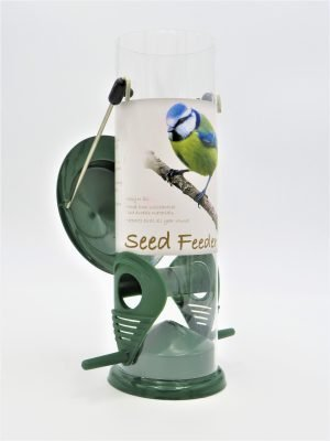 red barn metal seed feeder with 2 ports showing flip top lid
