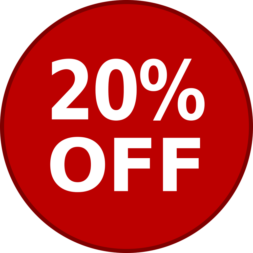 sale 20% off red circle