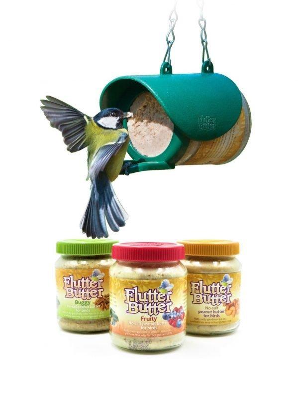Flutter Butter Wild Bird Feeding Bundle. 1 flutter butter feeder with 3 jars 330g flutter butter