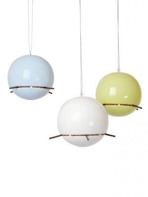 3 Birdball peanut feeders for wild birds hanging against white background, white, lime green and blue ceramic.