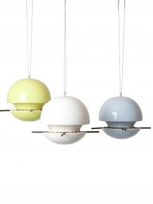 Birdball seed bird feeders. 3 hanging ceramic wild bird feeders in white, blue and lie green