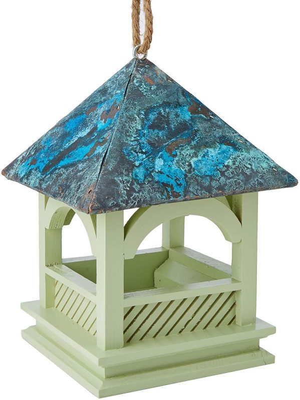 Bempton hanging feeder for wild bird feeding. FSC wood and copper roof