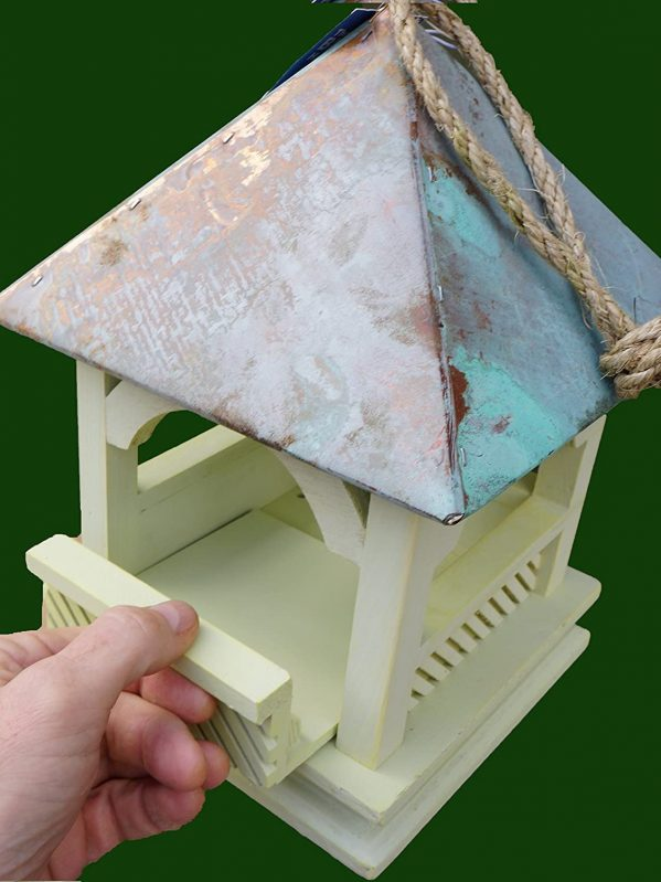 Benpton hanging wild bird feeder showing how side is removed for easy cleaning