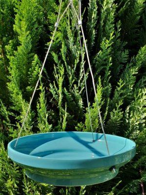 CJ Hanging Water Dish in garden. For wild birds. Blue ceramic